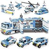 WYSWYG City Polizei Spielzeug Bausteine, 1042 Teile 8 in 1 Polizeistation Set mit Polizeiauto & Hubschrauber,STEM Lernspielzeug...