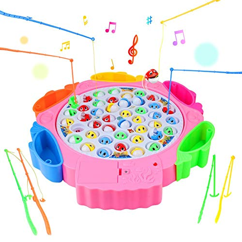 Angelspiel Angeln Spielzeug kinderspielzeug mit 8 Angelruten 42 Fisch mit Musik Spielzeug 3 4 5 Jährige (Farbe zufällige...