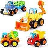 GoStock Baby Spielzeugauto Spielsachen Baufahrzeuge für Kinder 12 18 Monate, Spielzeug Auto für Kleinkind ab 1 2 3 Jahre, 4 in 1...