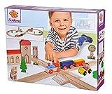 Eichhorn – Schienenbahn – 35-teilige Holzeisenbahn für Kinder ab 3 Jahren, mit Schienen, Zug, Kirche, Holzauto, uvm., 290 cm...