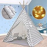 Tiny Land Tipi Spielzelt für Kinder Kinderzimmer mit Gepolsterter Matte & Lichterkette- 100% Baumwolle Segeltuch Tippi Kinderzelt...
