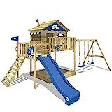 WICKEY Spielturm Klettergerüst Smart Coast mit Schaukel & blauer Rutsche, Stelzenhaus mit Sandkasten, Kletterleiter &...