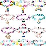 12 Stücke Einhorn Armband Meerjungfrau Armband Prinzessin Perlen Armbänder Regenbogen Armbänder Mädchen Bogen Armband Buntes...
