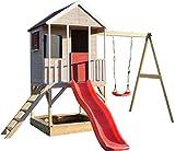 Wendi Toys M9 Spielhaus Garten Holz   Spielhaus Kinder Holz   Spielturm mit Rutsche und Baby Schaukel   Klettergerüst Outdoor...