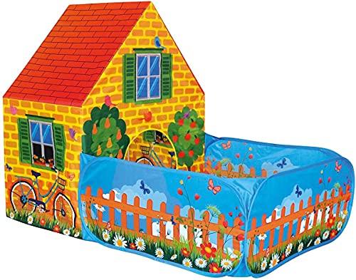 Bino Spielzelt Haus mit Vorgarten für Drinnen und Draußen Spielzeug für Kinder ab 3 Jahre (leichte Reinigung, robust,...