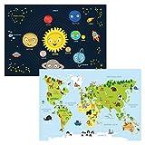 kizibi® Weltkarte und Planeten Poster Set A2 für Kinderzimmer, Lernposter für Mädchen und Jungen, Orbit Kontinente | für...
