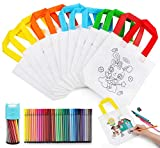 Anstore Kinder Stoffbeutel Set,12 Stück Non-Woven Tasche Zum Bemalen & 36 Farbe Buntstifte für Kindergeburtstag DIY Graffiti...