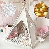 Tiny Land Tipi Spielzelt für Kinder mit Gepolsterter Decke & Lichterkette & Aufbewahrungstasche Baumwolle- Segeltuch Kinderzelt...