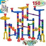 JOYIN 150 Stück Mehrfarbige Murmelbahn Marble Run Set mit 100 Bahnelementen und 50 Glasmurmeln, Kugelbahn Lernspielzeug,...
