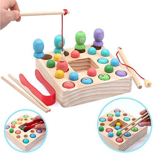Symiu Holzspielzeug Angelspiel Montessori Lernspielzeug Magnettafel Kinderspielzeug Pädagogisches Spielzeug Geschenk Mädchen...