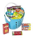 Polly Kaufladen Zubehör Set Blau Einkaufskorb gefüllt mit Miniaturen | Kinder Spielzeug für den Kaufmannsladen |...