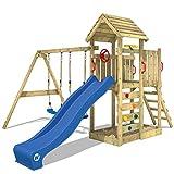 WICKEY Spielturm Klettergerüst MultiFlyer Holzdach mit Schaukel & blauer Rutsche, Kletterturm mit Holzdach, Sandkasten, Leiter &...