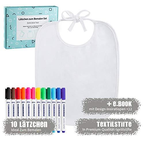 Baby Weiße Lätzchen zum Bemalen für Babyparty | 10er baumwoll sabberlätzchen und 12 Premium Marker Textilstiften | Ideal zum...