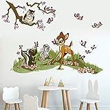 Runtoo Wandtattoo Bambi Wandsticker Waldtiere Tier Wandaufkleber Kinderzimmer Babyzimmer