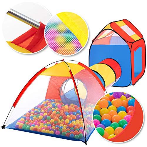 KIDIZ® Spielzelt Spielhaus Babyzelt 200 Bälle Bällebad Kinderzelt | Ideal für Zuhause & im Garten | Tasche | Tunnel, Größe:...
