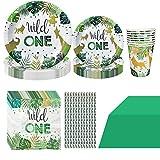 Formemory 61-teiliges Wild One Tiere Pappgeschirr Partydekoration für 10 Kinder, Dschungel Geburtstag Geschirr Kit Wald...