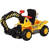 HOMCOM 4-in-1 Rutscher Kinder Kinderbagger Rutschauto Rutscherfahrzeug Laufrad mit Strauraum kleiner Korb&Bälle Gelb+Schwarz, 98...