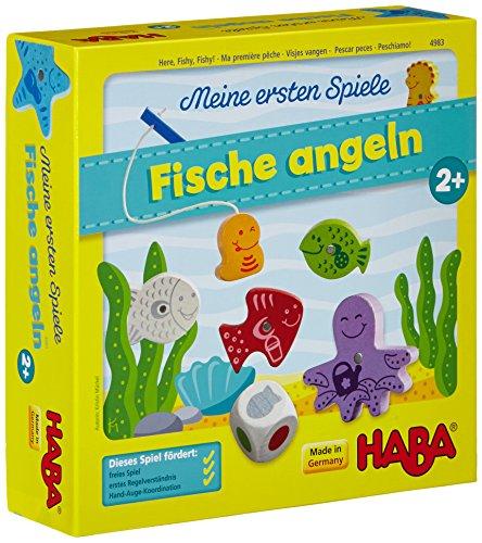 Haba 4983 - Meine ersten Spiele Fische angeln, spannendes Angelspiel mit bunten Holzfiguren, Lernspiel und Holzspielzeug ab 2...