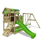 FATMOOSE Spielturm Klettergerüst TikaTaka mit Schaukel & apfelgrüner Rutsche, Stelzenhaus mit Sandkasten, Leiter &...
