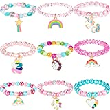 9 Stück Bunte Einhorn Armband Mädchen Einhorn Armbänder Regenbogen Einhorn Perlen Armband für Geburtstagsfeier Gefälligkeiten...