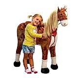 Pink Papaya Plüschpferd XXL 105cm - das riesige Pferd zum Reiten, Stehpferd XXL, bis 100kg, Spiel-Pferd zum Draufsitzen inkl....