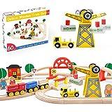 Holzeisenbahn- Eisenbahn Advanced Set- Kran Spielzeug & zug & Holz Eisenbahnen- 60Pcs- Passend für Brio,Thomas, Chuggington,...