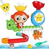BBLIKE Badespielzeug für Babys, Kinder Wasser Dusche Badewannenspielzeug mit BAU-Puzzle Autorennbahn 14 Stück Spielzeug, Für...