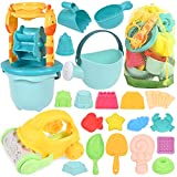 GOLDGE Sandspielzeug Set, 29Pcs Bunte Strandspielzeug Sandspielzeug Set mit Auto Eimer Schlossformen Netztasche Wasserspielzeug...