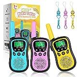 AILUKI 3 Stück Walkie Talkie Kinder Spielzeug 4KM Reichweite Funkgerät 8 Kanäle 10 Klingeltöne mit Taschenlampe LCD Display...
