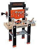 Smoby 360701 – Black+Decker Werkbank Center – mit viel Zubehör, mechanischem Akkuschrauber, Autobausatz, Lern-App, für...