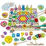 Akokie Montessori Spielzeug Angelspiel Steckspiel 4 IN 1 Holz Puzzle Brettspiele Stapelsteine Mathe Spiel Geschenk für Kinder...