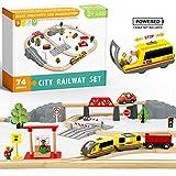 Holzeisenbahn und Eisenbahn Set - Elektrische Eisenbahn für Kinder , Elektrisch Spielzeug Zug, Passend für Brio, Thomas,...