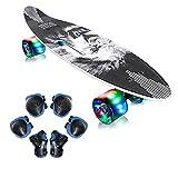 EiDevo Skateboard Komplette Mini Cruiser Retro Skateboard,Cruiser Retro Board mit LED Leuchtrollen,Fancy Skateboard All-in-One...