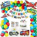 Gafild Geburtstagsdeko Kindergeburtstag Deko, Geburtstag Deko Ballon Flugzeug Zug Polizeiwagen Schulbus Yacht Feuerwehrauto...
