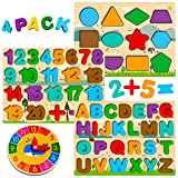 Montessori Spielzeug ab 1 2 3 4 Jahre, Holzpuzzle Kleinkind, Buchstaben Zahlen Form Puzzle, ABC Nummer Lernen, Alphabet Spiel...