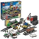 LEGO 60198 City Güterzug, Set mit batteriebetriebenem Motor für Kinder ab 6 Jahren, Bluetooth-Fernbedienung, 3 Wagen, Gleise und...