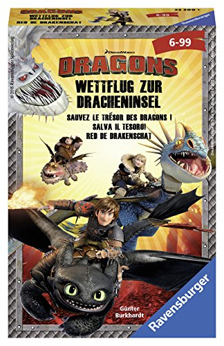 Ravensburger 23399 - Spiel, Dragons Wettflug zur Dracheninsel