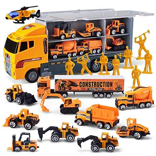 JOYIN 11 in 1 Druckguss Baustellen LKW Fahrzeug Auto Spielzeug Set, Konstruktionsfahrzeuge, Fahrzeuge im Träger-LKW