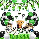 Zu den Fußballgeburtstagsdekorationen gehörten Fußball-Geburtstagsballons für den Spieltag, alles Gute zum Geburtstag und die...