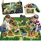 Mini Tudou 12 Stücke Safari Tiere Spielzeug Tierfiguren mit 145x98cm Aktivität Spielmatte,Realistischte Wildtier Figuren mit...