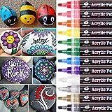 Acrylstifte Marker Stifte, 12 Farben Wasserfest Acrylstifte für Steine Bemalen, Acrylfarben Stifte für Glas Kinder DIY Keramik...
