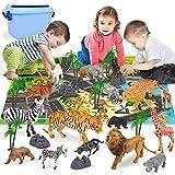 Vanplay Tiere Spielzeug Tier Spiele Mini Zoo Figuren mit Spielmatte Baum und Stein für Kinder 30Pcs